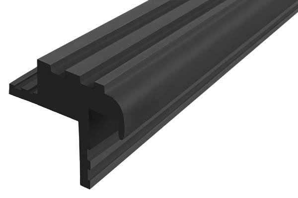 Закладной гибкий профиль Безопасный Шаг (БШ-30) черного цвета с двумя закладными элементами