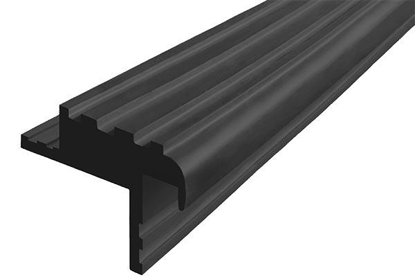 Закладной гибкий профиль Безопасный Шаг (БШ-40) черного цвета с двумя закладными элементами