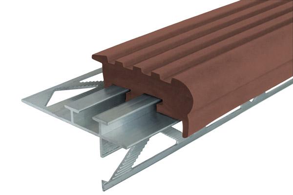 Закладные профили из алюминия и резины - профиль против скольжения Уверенный Шаг УШ-50 с двумя закладными элементами