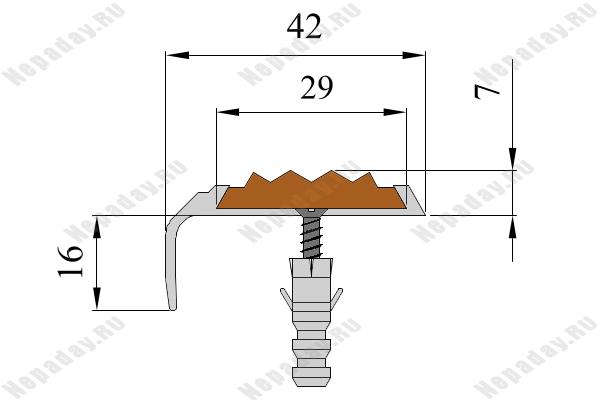 Алюминиевый накладной угол-порог АУ42 с одной вставкой против скольжения
