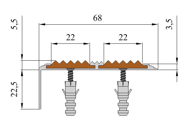 Алюминиевый угол-порог с двумя вставками против скольжения