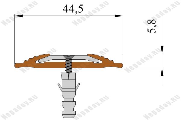 Резиновая полоса NoSlipper против скольжения с алюминиевой вставкой