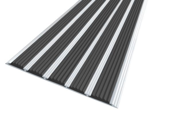 Алюминиевая накладная полоса с пятью черными вставками против скольжения