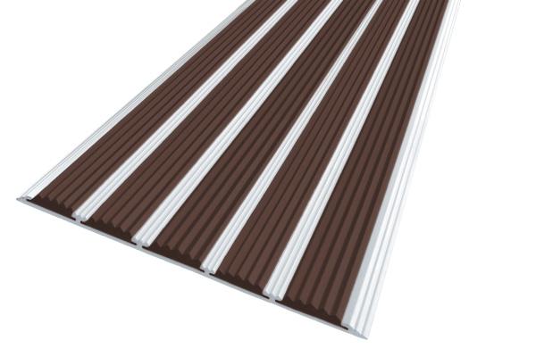 Алюминиевая накладная полоса с пятью темно-коричневыми вставками против скольжения