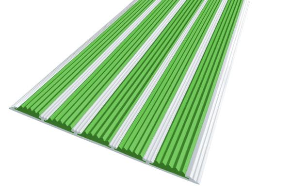 Алюминиевая накладная полоса с пятью зелеными вставками против скольжения