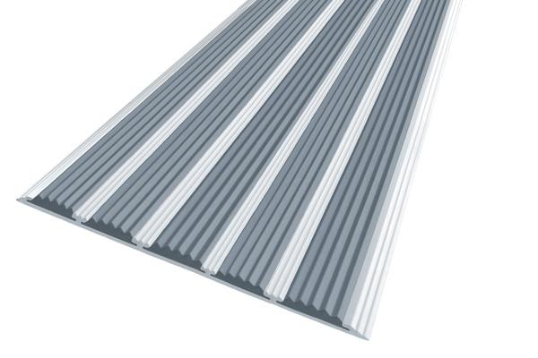 Алюминиевая накладная полоса с пятью серыми вставками против скольжения