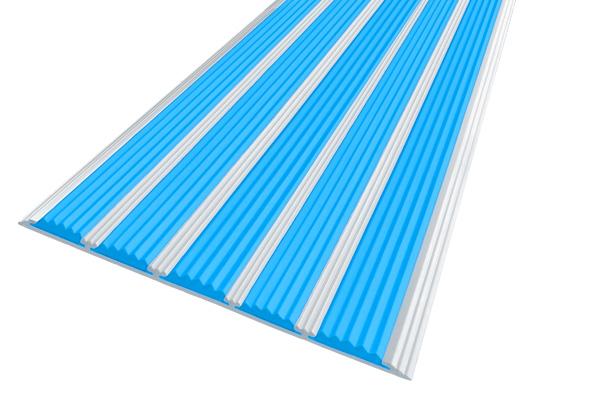 Алюминиевая накладная полоса с пятью голубыми вставками против скольжения