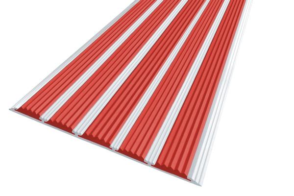 Алюминиевая накладная полоса с пятью красными вставками против скольжения