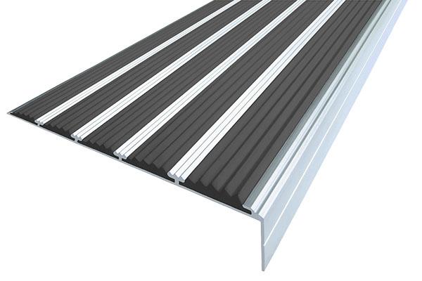 Алюминиевый накладной угол с пятью черными вставками против скольжения