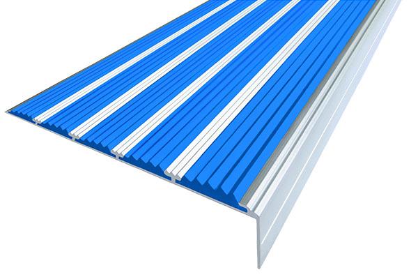 Алюминиевый накладной угол с пятью синими вставками против скольжения