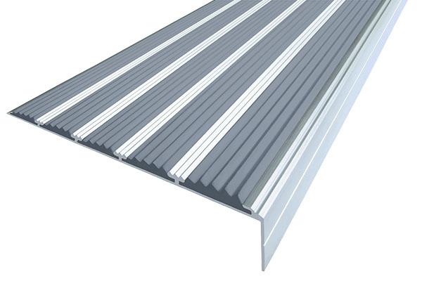 Алюминиевый накладной угол с пятью серыми вставками против скольжения