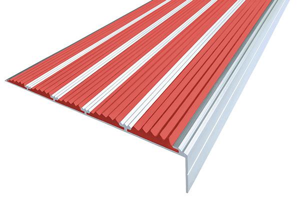 Алюминиевый накладной угол с пятью красными вставками против скольжения