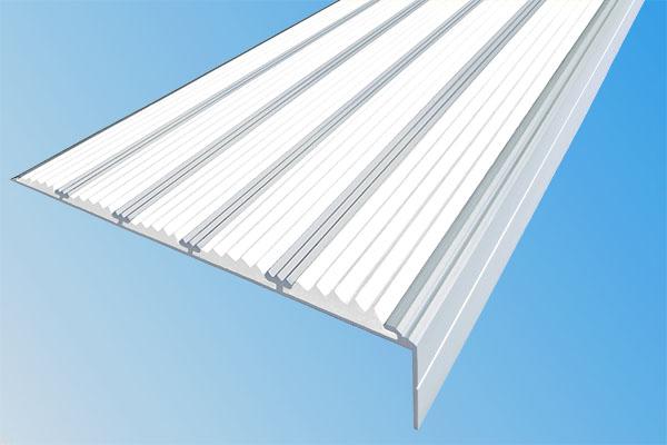 Алюминиевый накладной угол с пятью белыми вставками против скольжения
