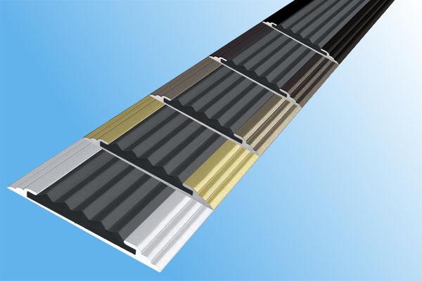 Алюминиевая анодированная накладная полоса Стандарт с одной вставкой против скольжения