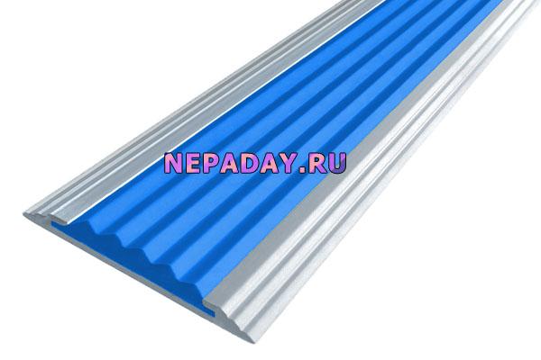 Алюминиевая накладная полоса Стандарт с одной вставкой против скольжения