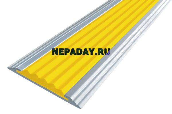 Алюминиевая накладная полоса Стандарт с одной вставкой против скольжения желтого цвета