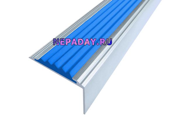 Алюминиевый накладной угол Стандарт с одной синей вставкой против скольжения
