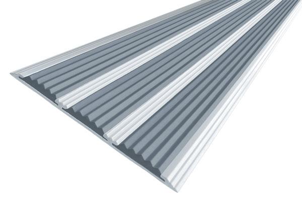 Алюминиевая накладная полоса с тремя вставками против скольжения серого цвета
