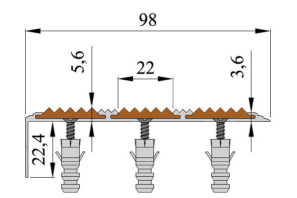 Алюминиевый угол-порог с тремя вставками против скольжения