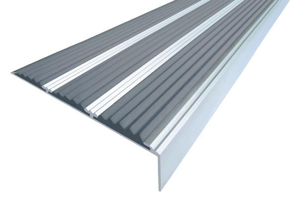 Алюминиевый накладной угол с тремя вставками против скольжения серого цвета