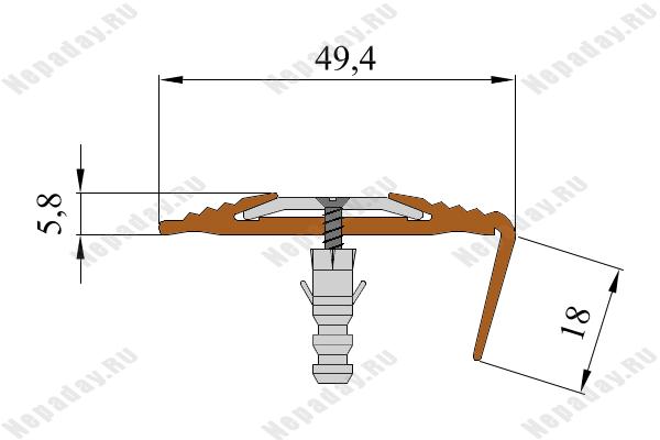 Резиновый угол-порог NoSlipper против скольжения с алюминиевой вставкой